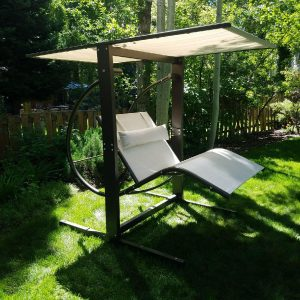 Outdoor canopy swing with customizable colors.